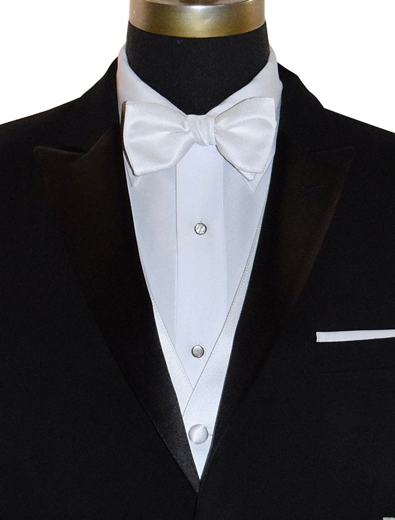 white pre-tied bowtie and white pocket square