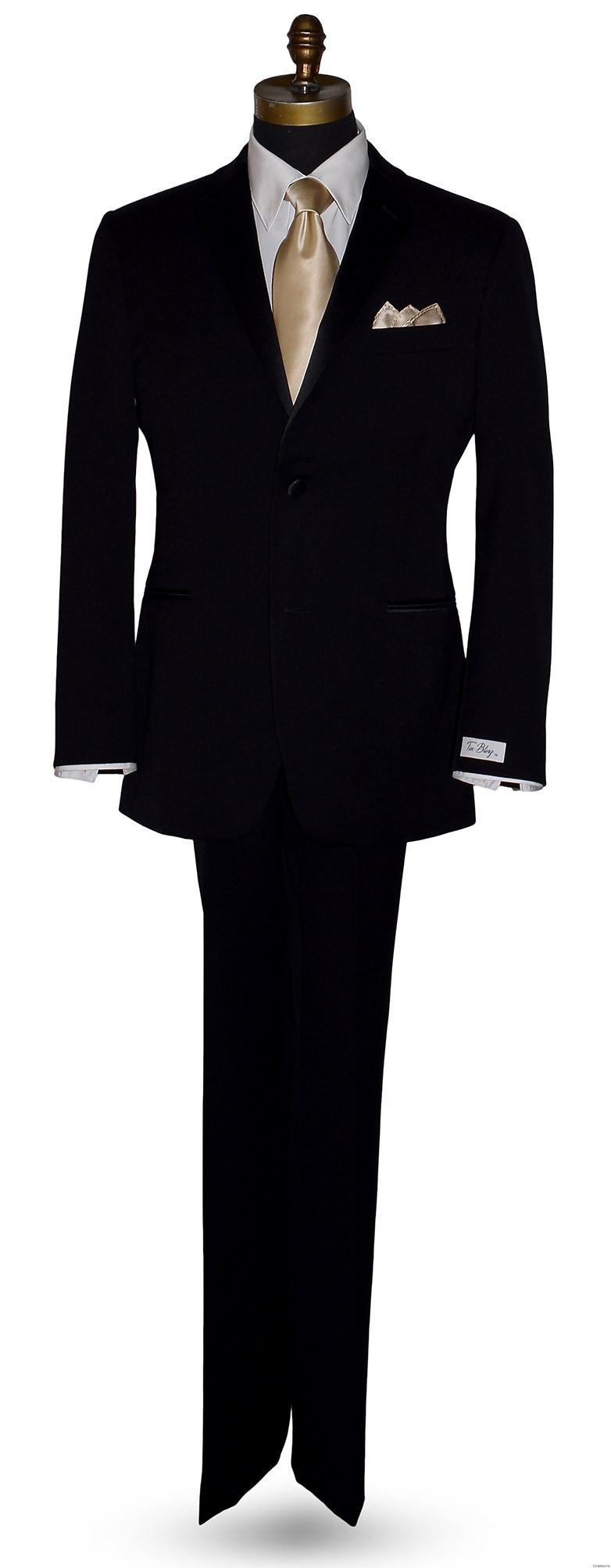 black notch lapel tuxedo by Tuxbling.com with champagne silk long dress tie for weddings