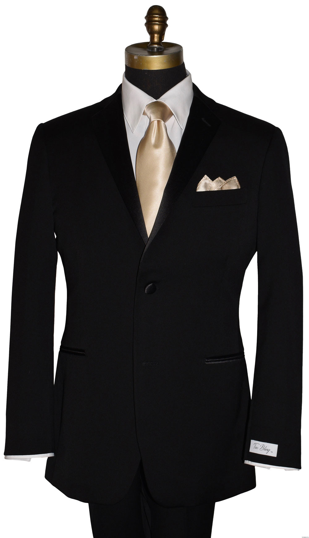 men's champagne long tie and champagne silk pocket handkerchief