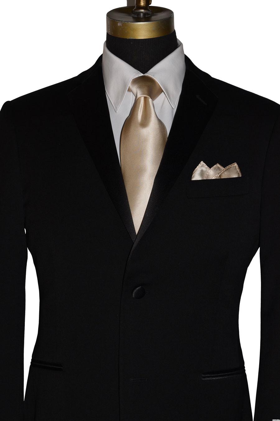 men's champagne long silk dress tie for weddings