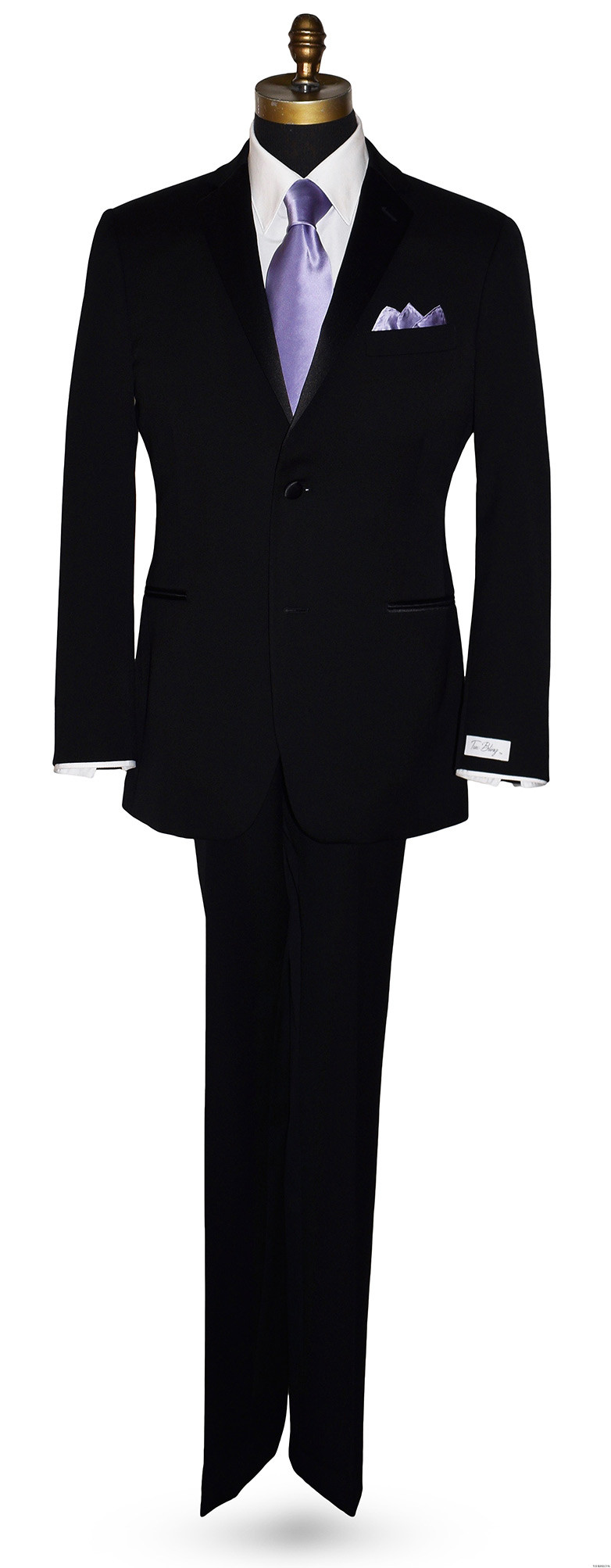 black San Miguel tuxedo with orchid-lilac silk long dress tie and matching pocket hanky
