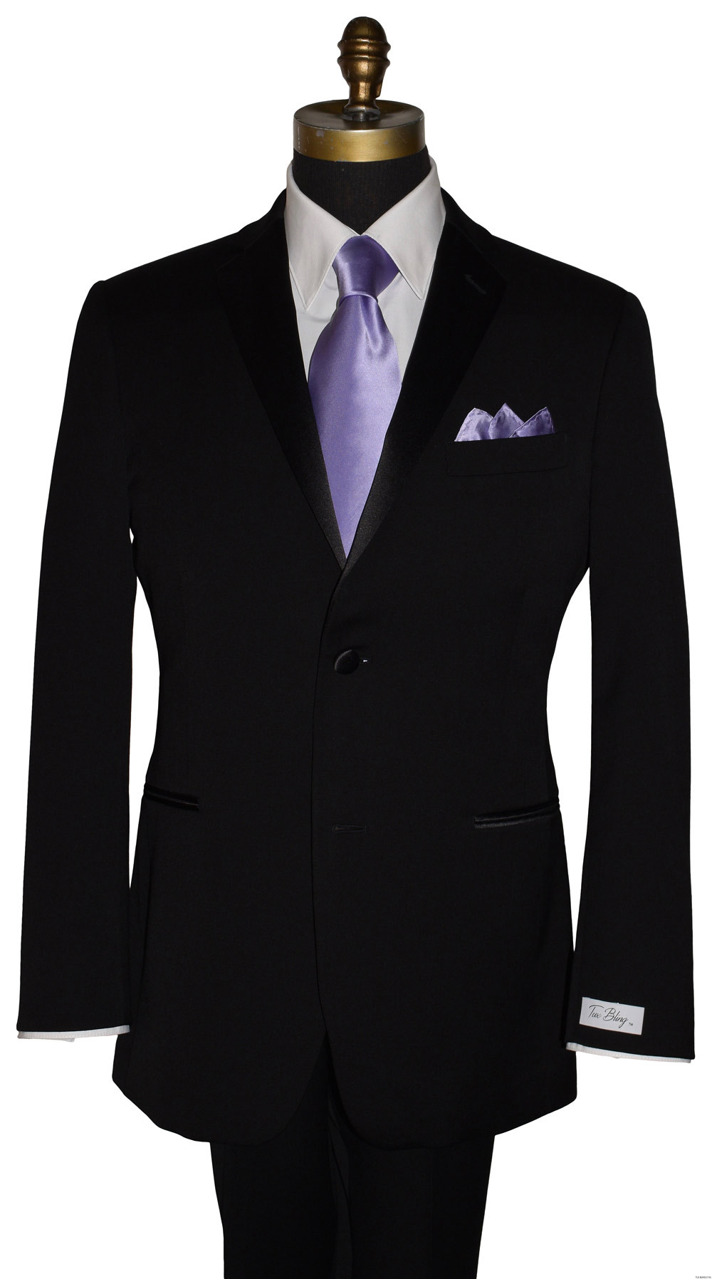 men's lilac silk dress tie with black tuxedo by San Miguel Formals