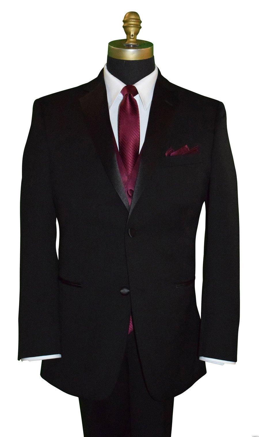 men's wine long skinny tie with wine vest and wine pocket handkerchief by San Miguel Formals