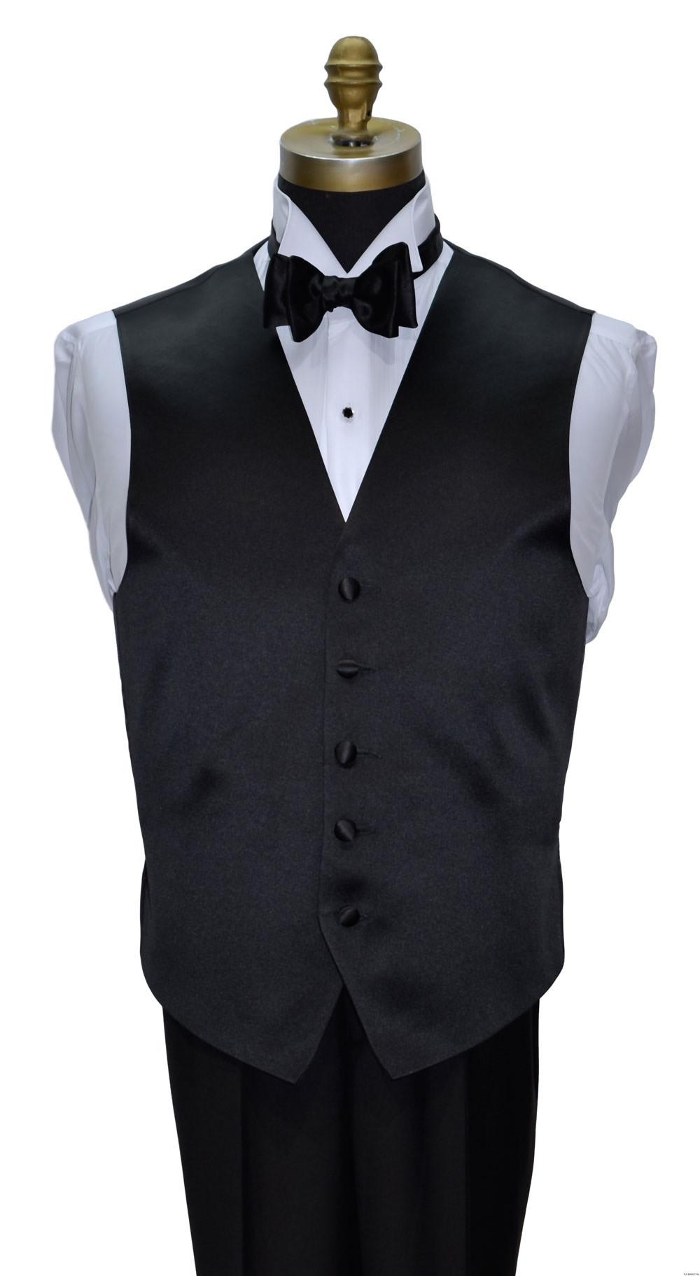 men's black satin vest and black bowtie