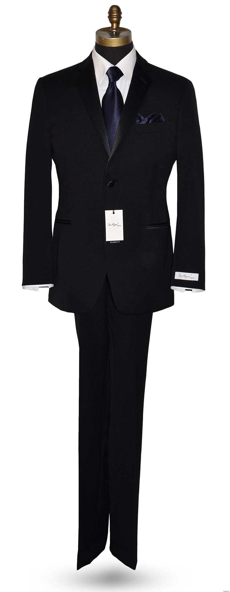 midnight blue silk men's dress tie with black tuxedo by San Miguel Formals