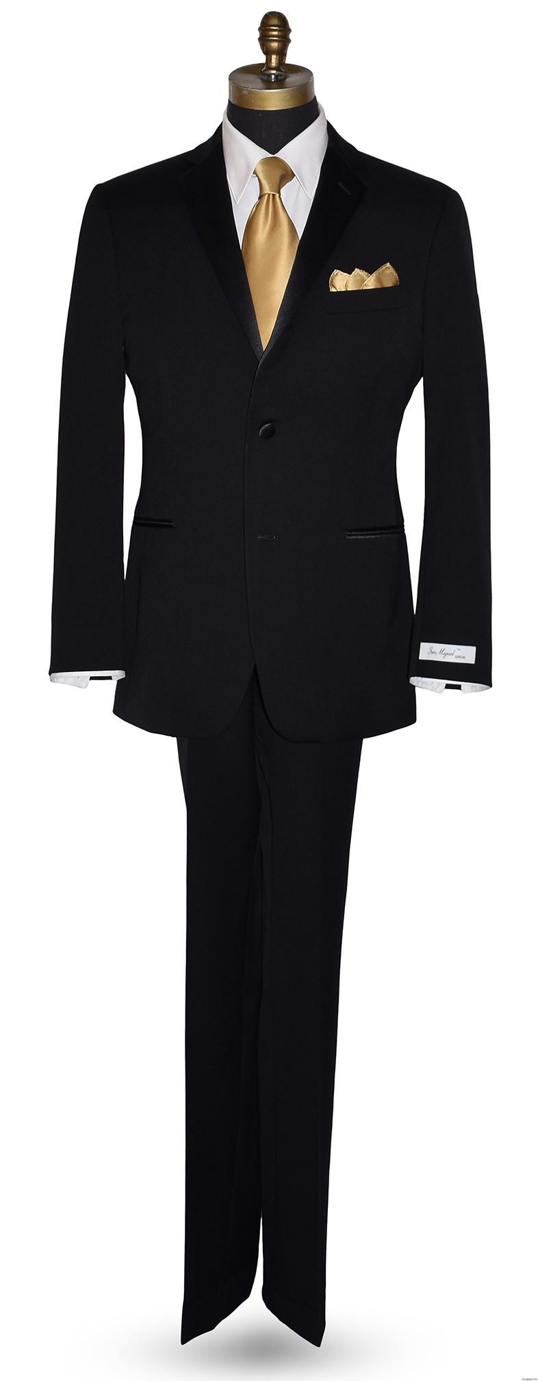 San Miguel Formals black men's tuxedo with gold silk long dress tie at Tuxbling.com