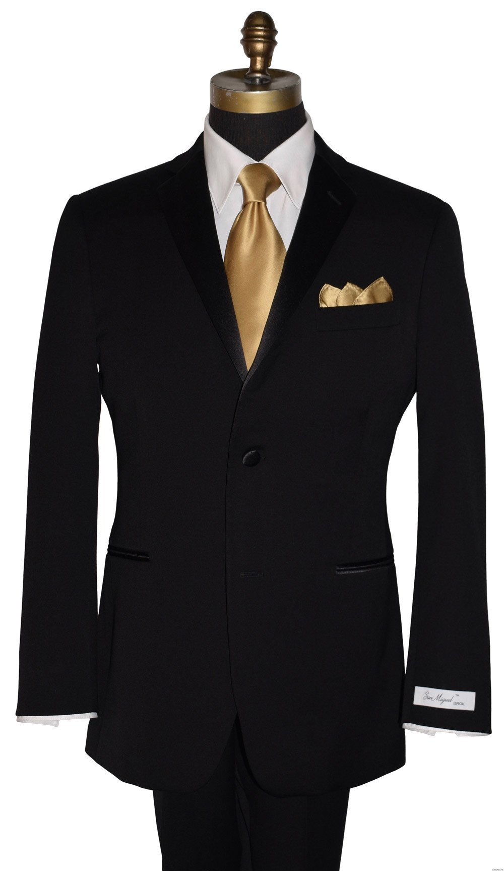 men's black tuxedo by San Miguel Formals with gold silk men's long tie