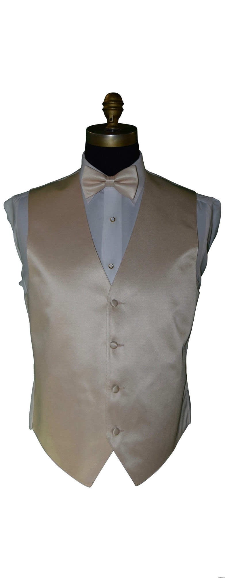 champagne men's vest and bowtie for groom by San Miguel Formals