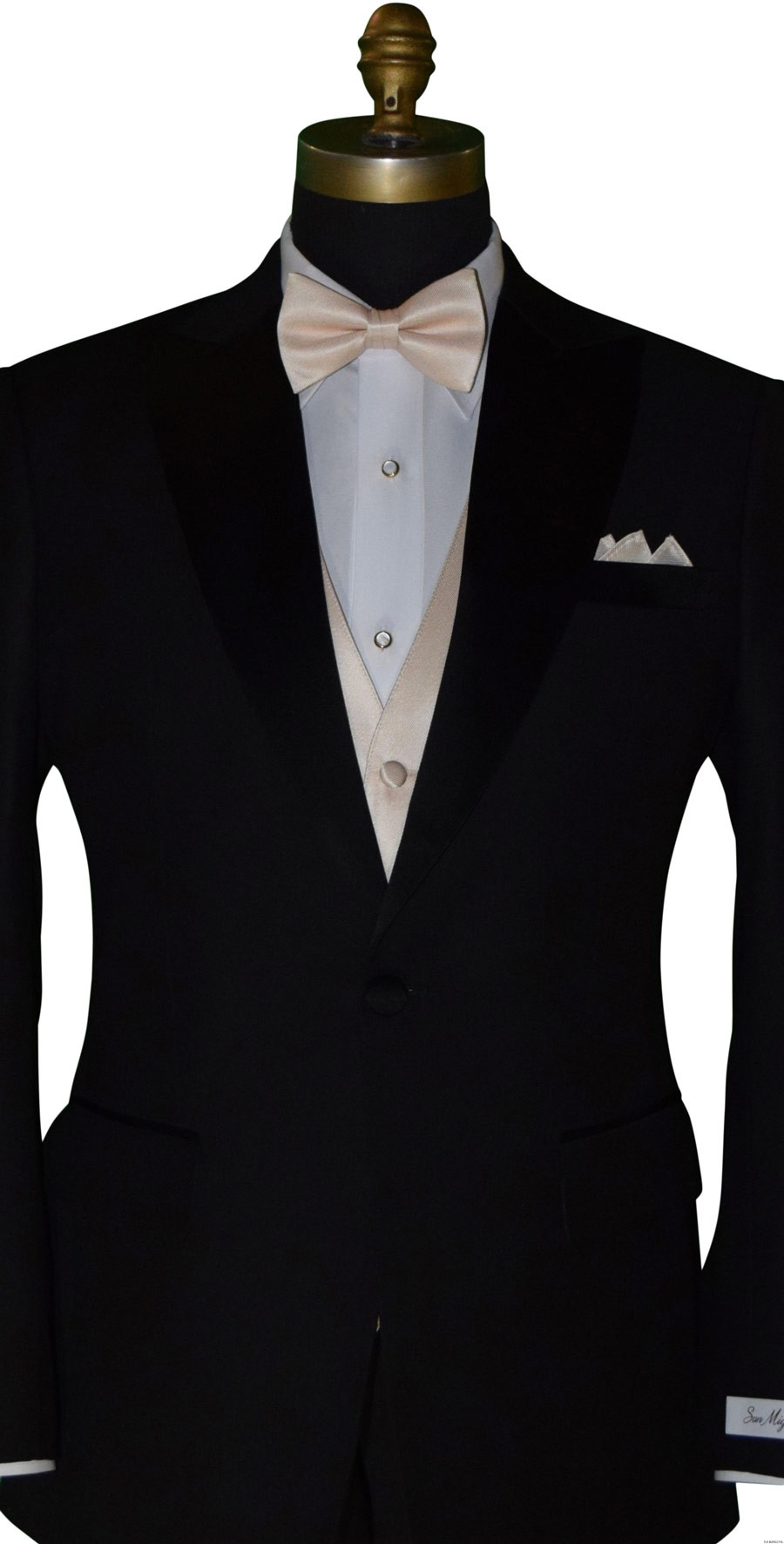 men's and boy's champagne pre-tied bowtie with champagne vest by San Miguel Formals