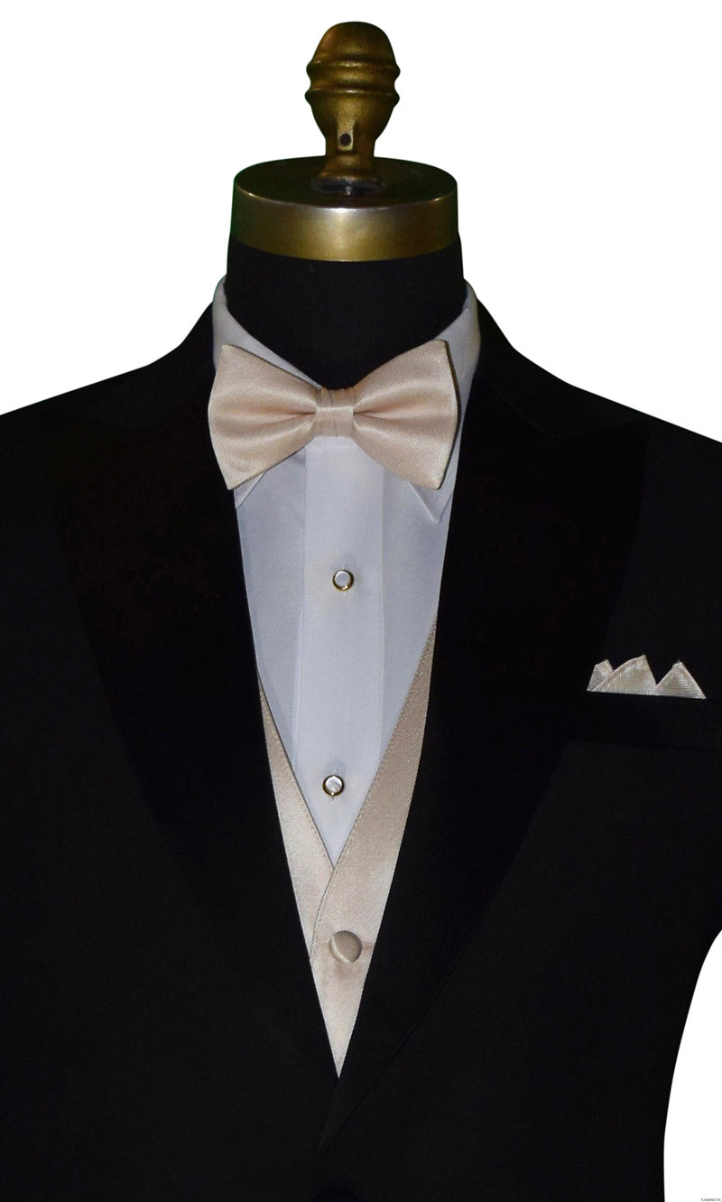 champagne pre-tied bowtie and champagne pocket square - up close