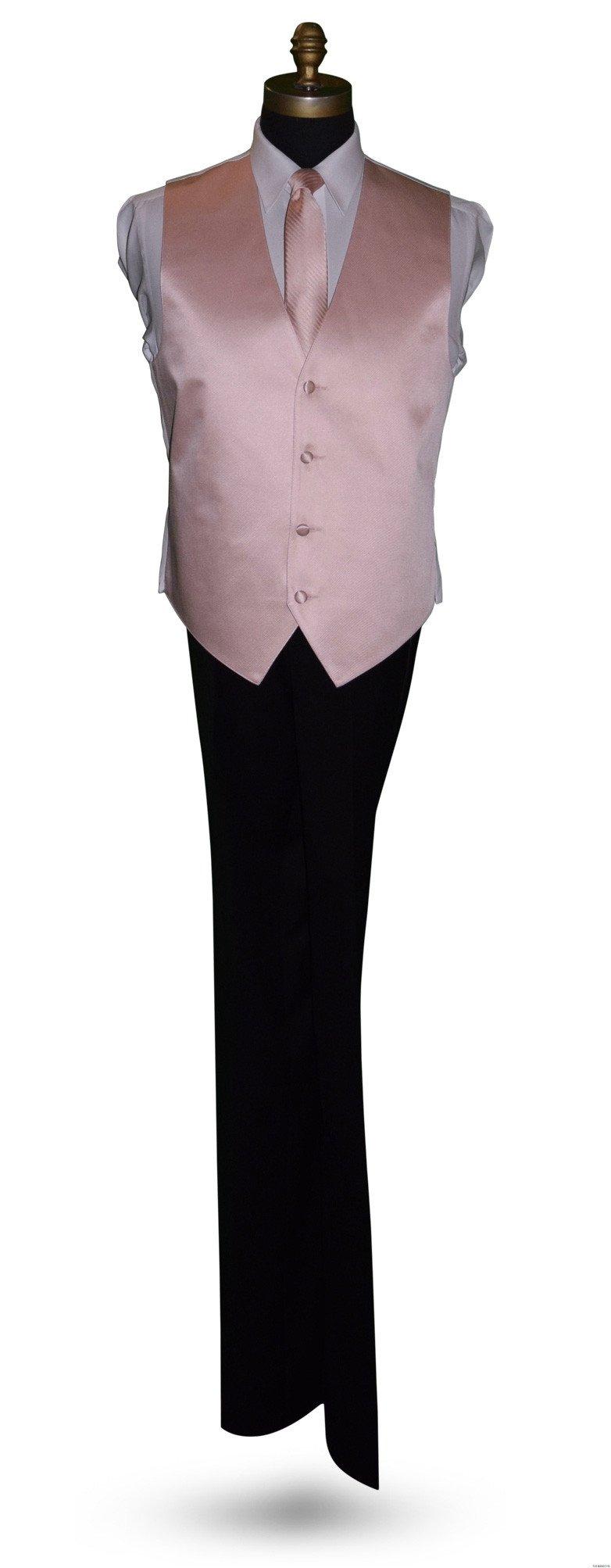 blush tuxedo vest with long blush dress tie, men and boys
