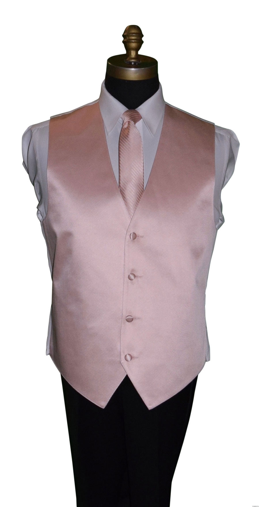 blush striped men's tie with blush vest for weddings by San Miguel Formals