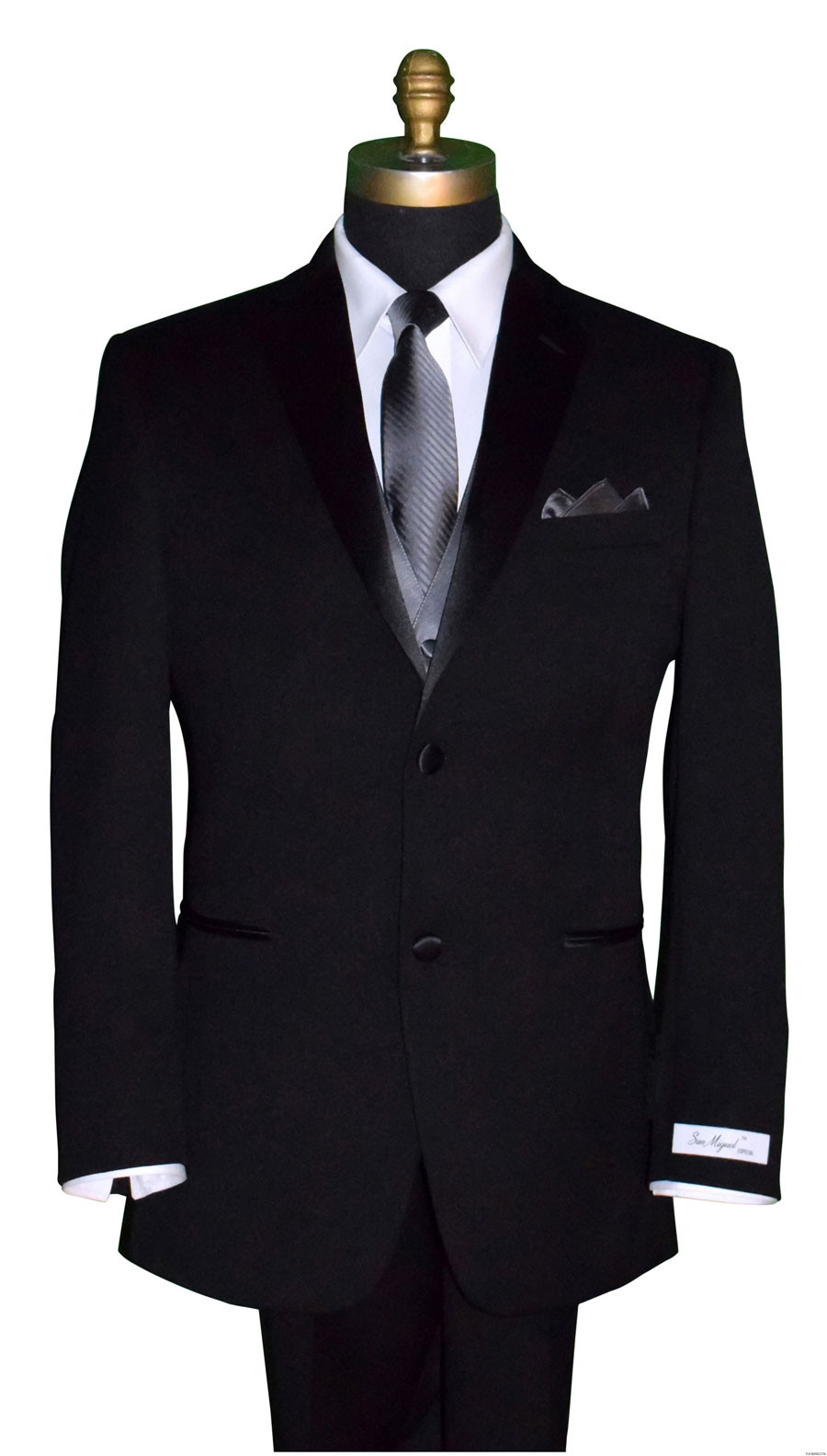 men's black tuxedo with charcoal striped tie and charcoal vest