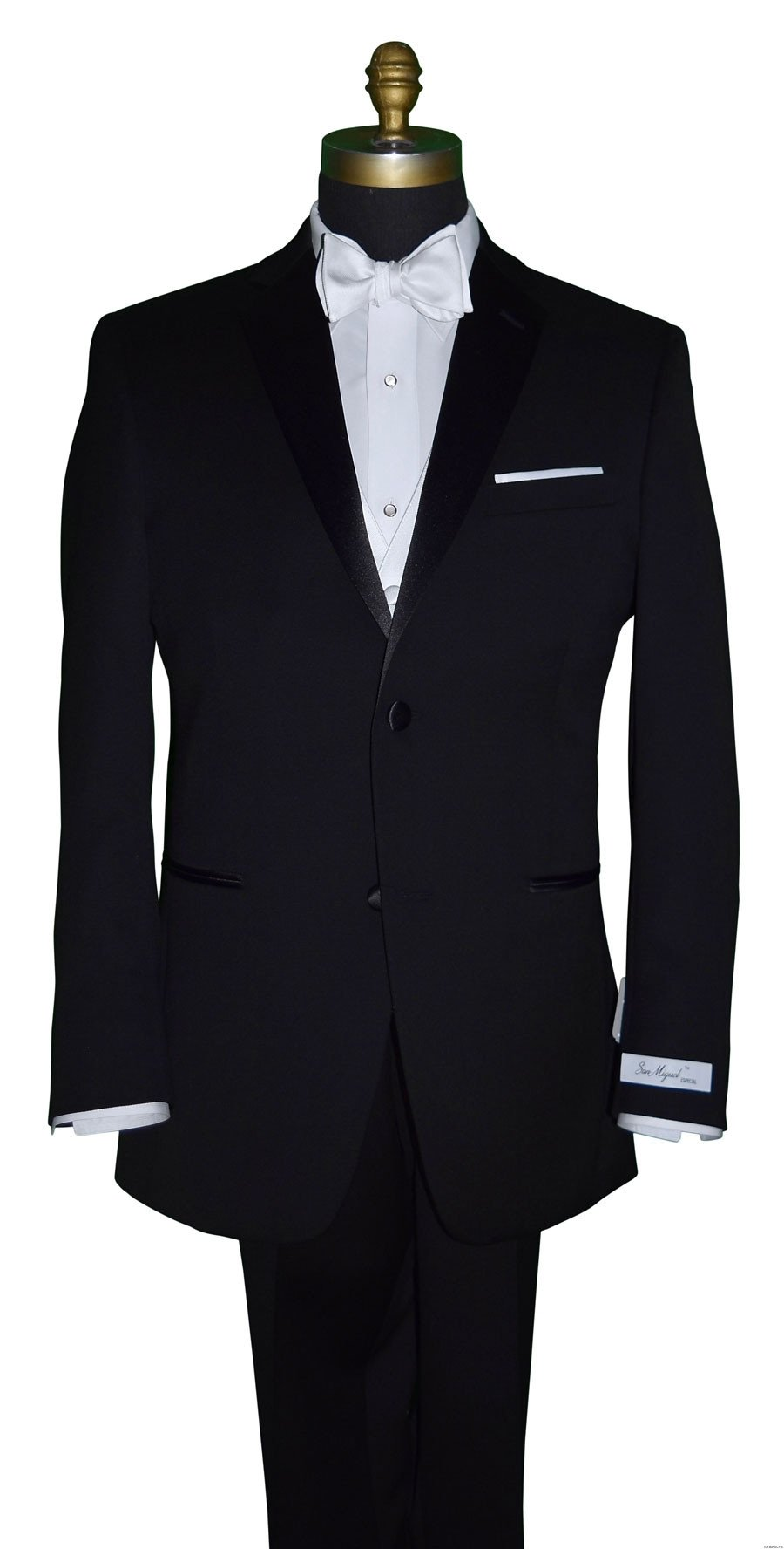 Men's San Miguel black tuxedo with white tie-yourself bowtie and vest
