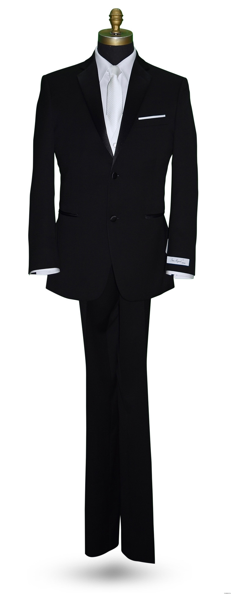 men's long white tie with stripes with black tuxedo by San Miguel Formals