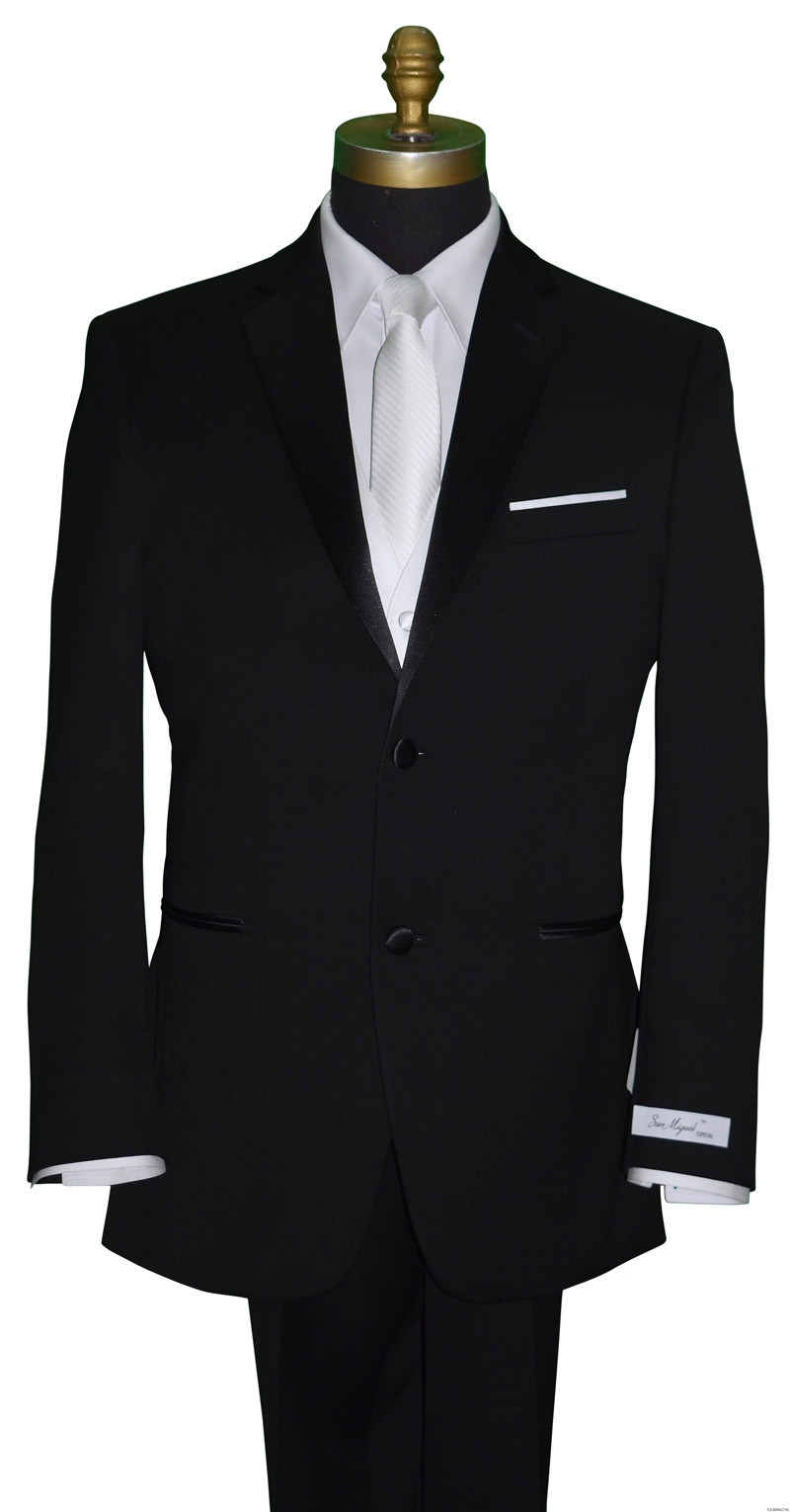 black grooms tuxedo with skinny white tie by San Miguel Formalsme