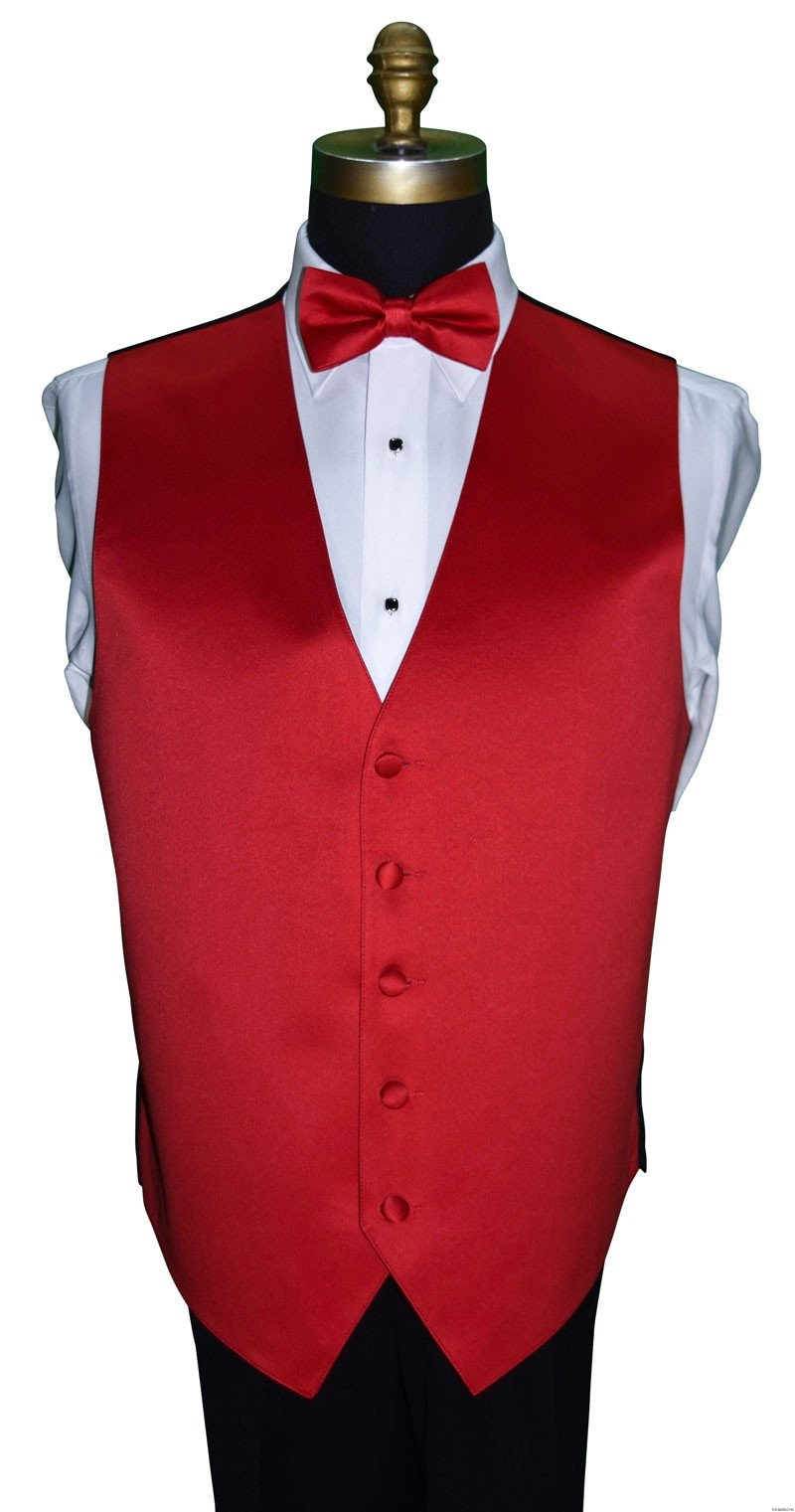 red satin vest and bowtie for men