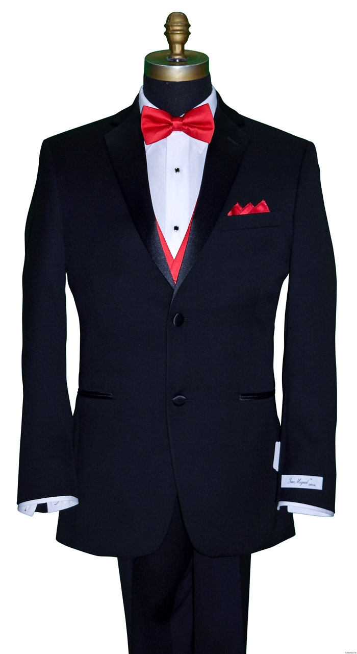San Miguel black tuxedo with red satin bowtie and red satin vest