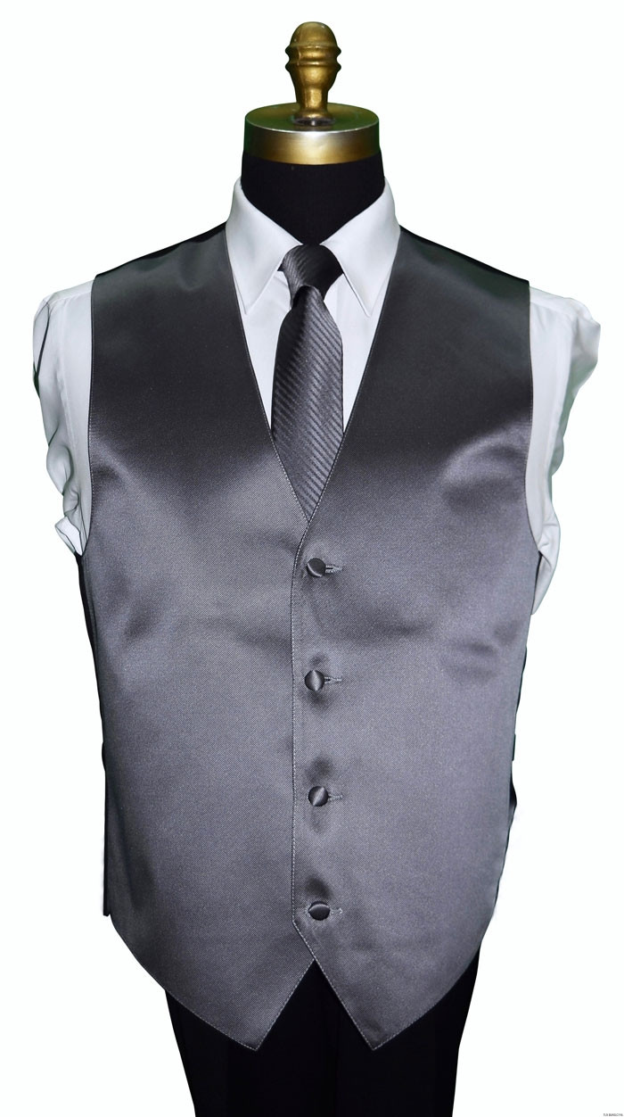 charcoal men's striped tie with charcoal vest by San Miguel Formals