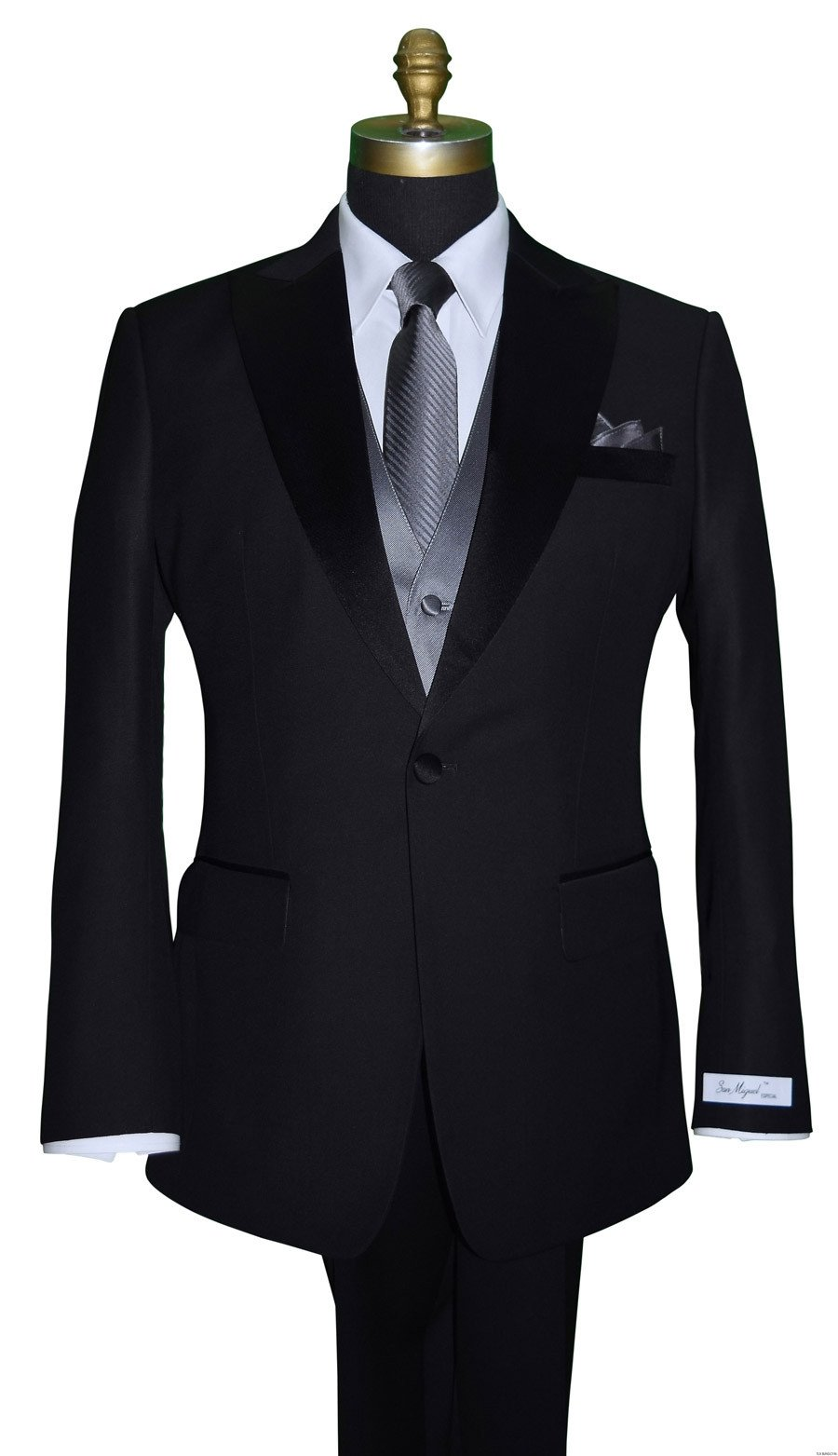 San Miguel peak lapel tuxedo with charcoal striped tie and vest