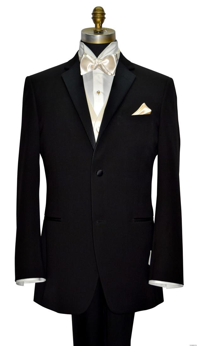 men's black tuxedo with ivory satin vest and bowtie on tuxbling.com