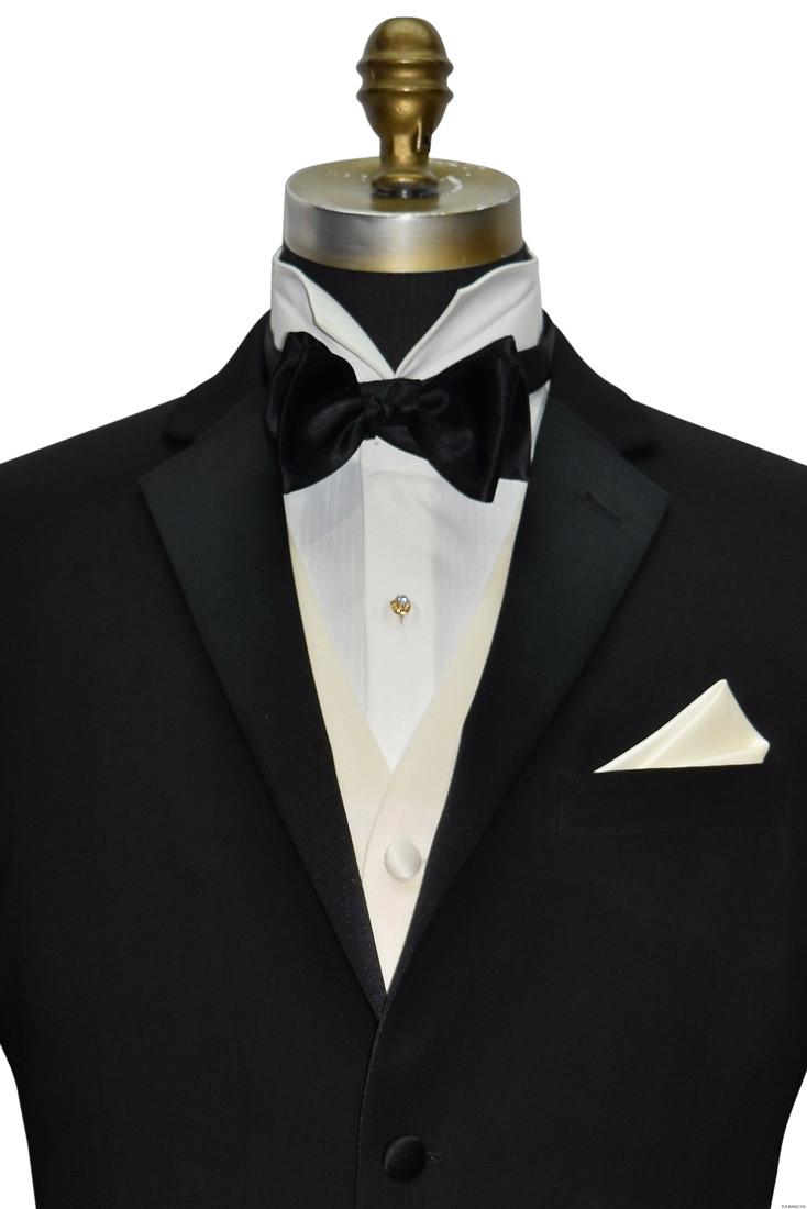 men's black bowtie with ivory satin vest and ivory satin pocket handkerchief