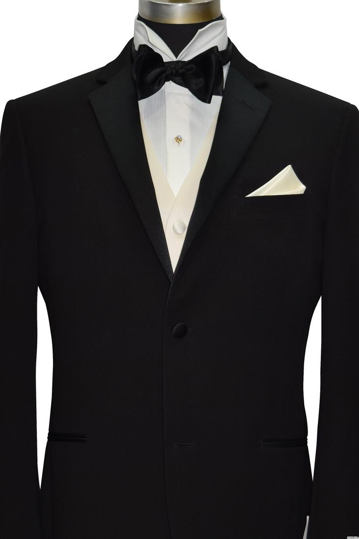 men's black tuxedo with ivory satin vest and black bowtie
