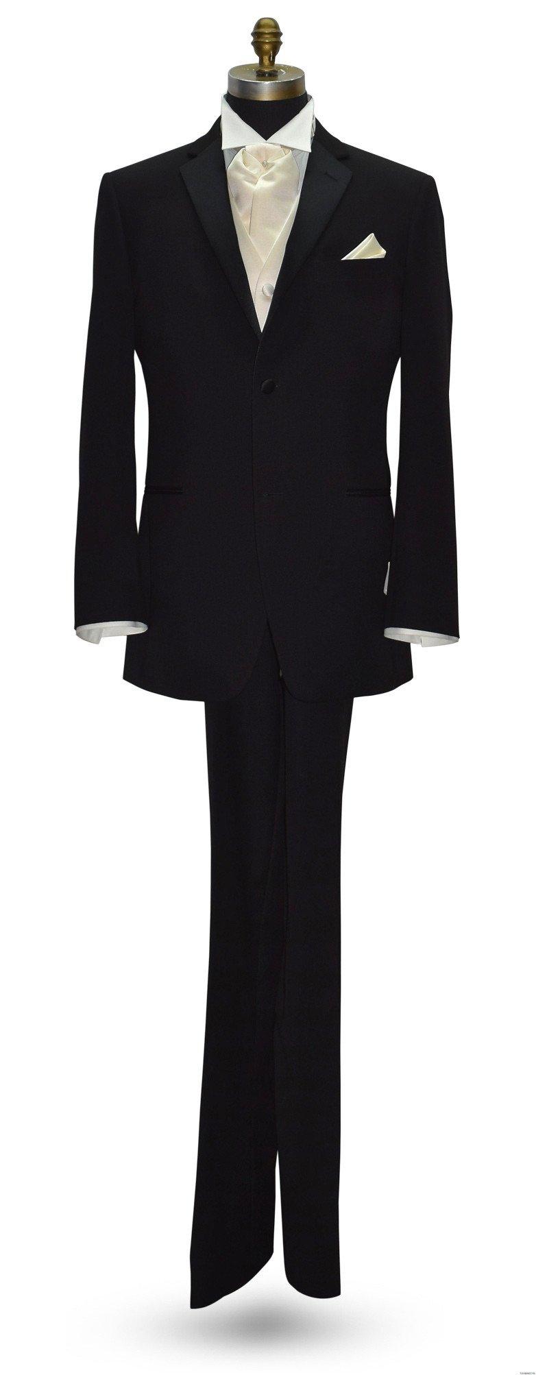 men's black tuxedo with ivory satin ascot and ivory satin vest