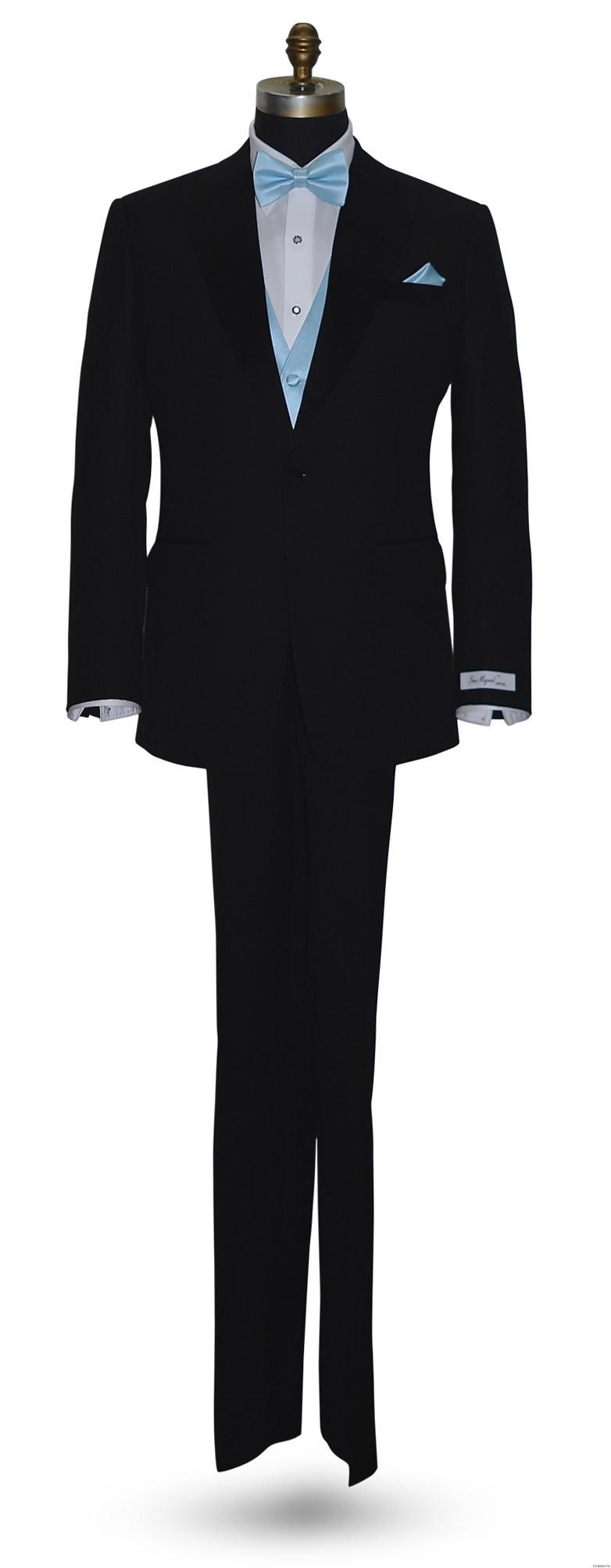 San Miguel black tuxedo with capri-blue pre-tied bowtie and capri blue vest and pocket handkerchief