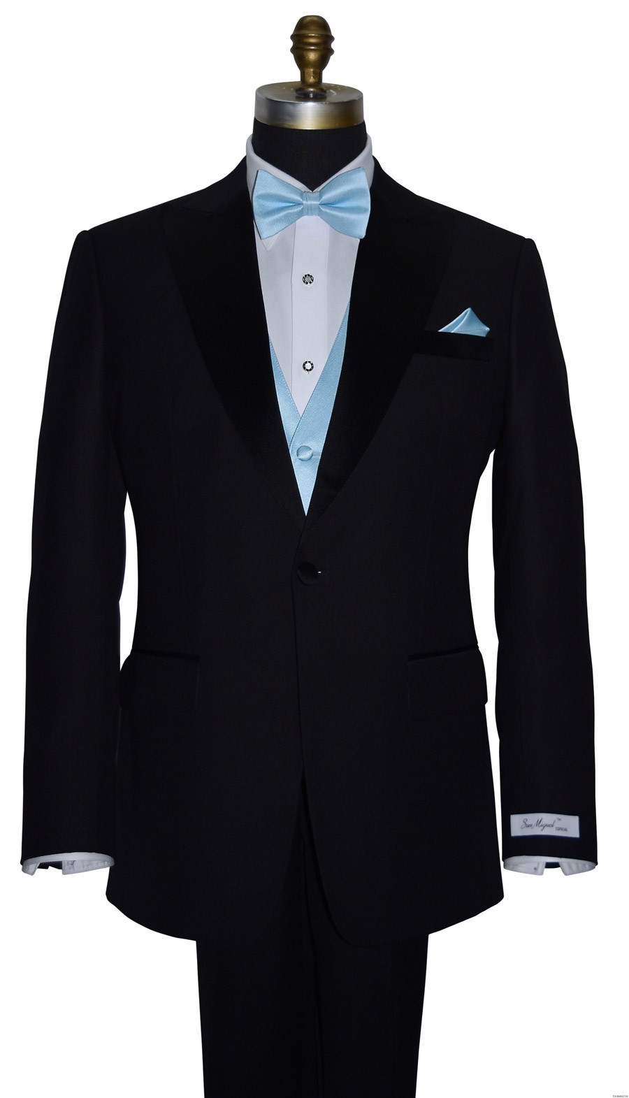 capri blue vest with capri-blue pre-tied bowtie on tuxbling.com