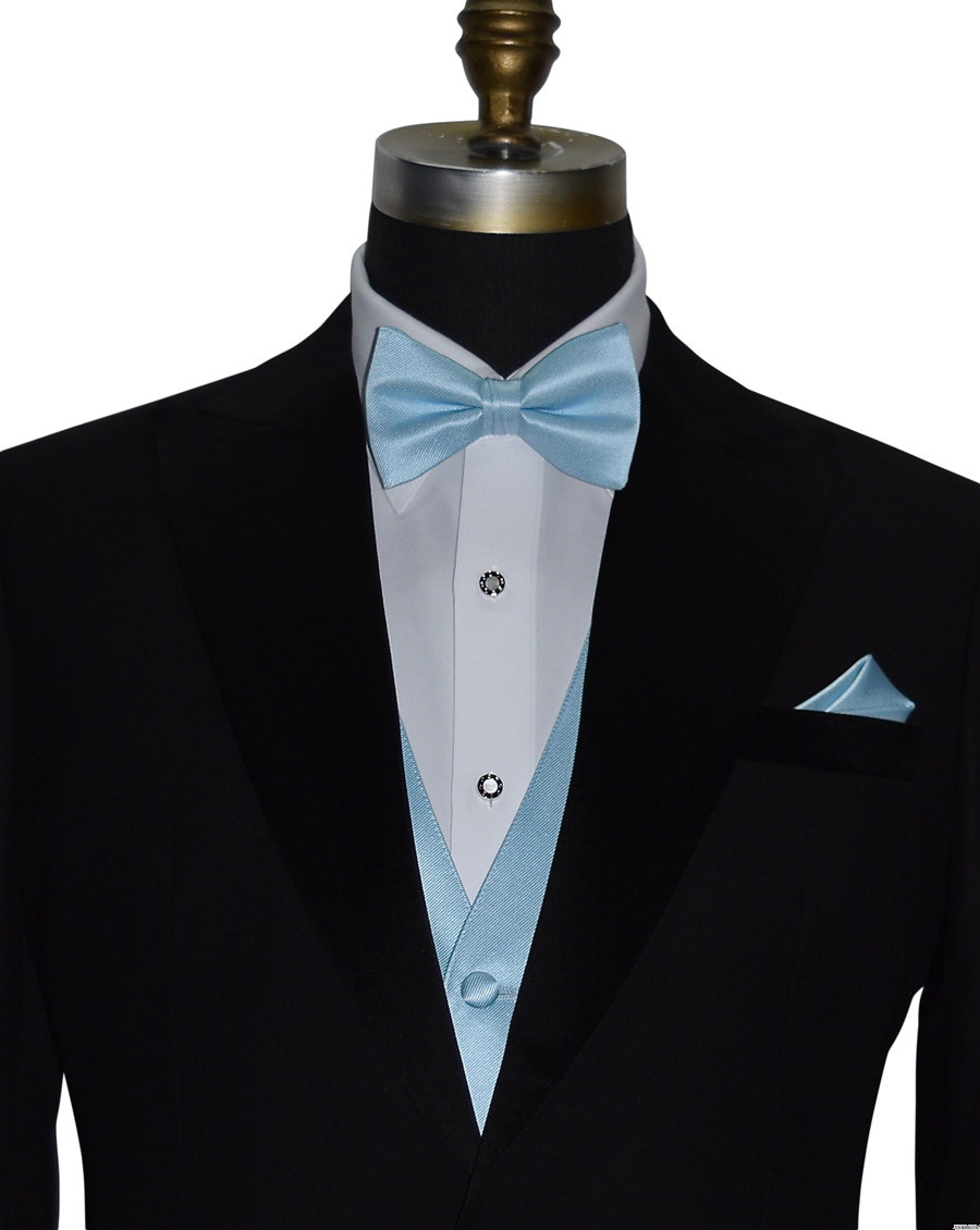 capri blue pre-tied bowtie, with matching vest and pocket handkerchief by San Miguel Formals