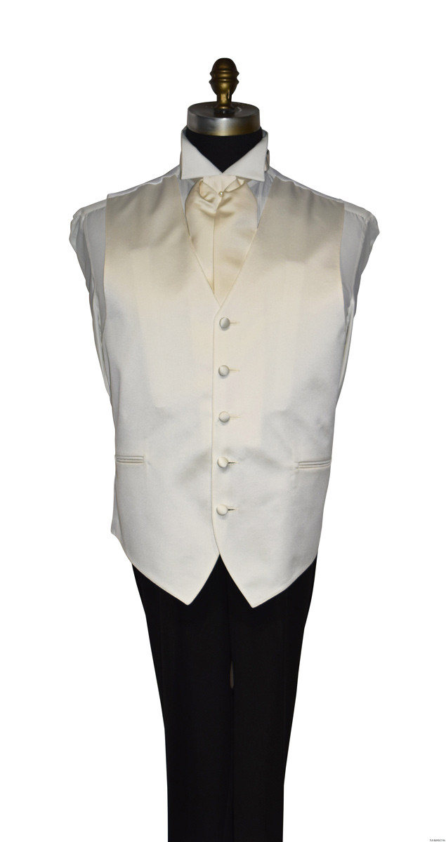 men's and boy's ivory satin vest with ivory satin ascot matches ivory bridal