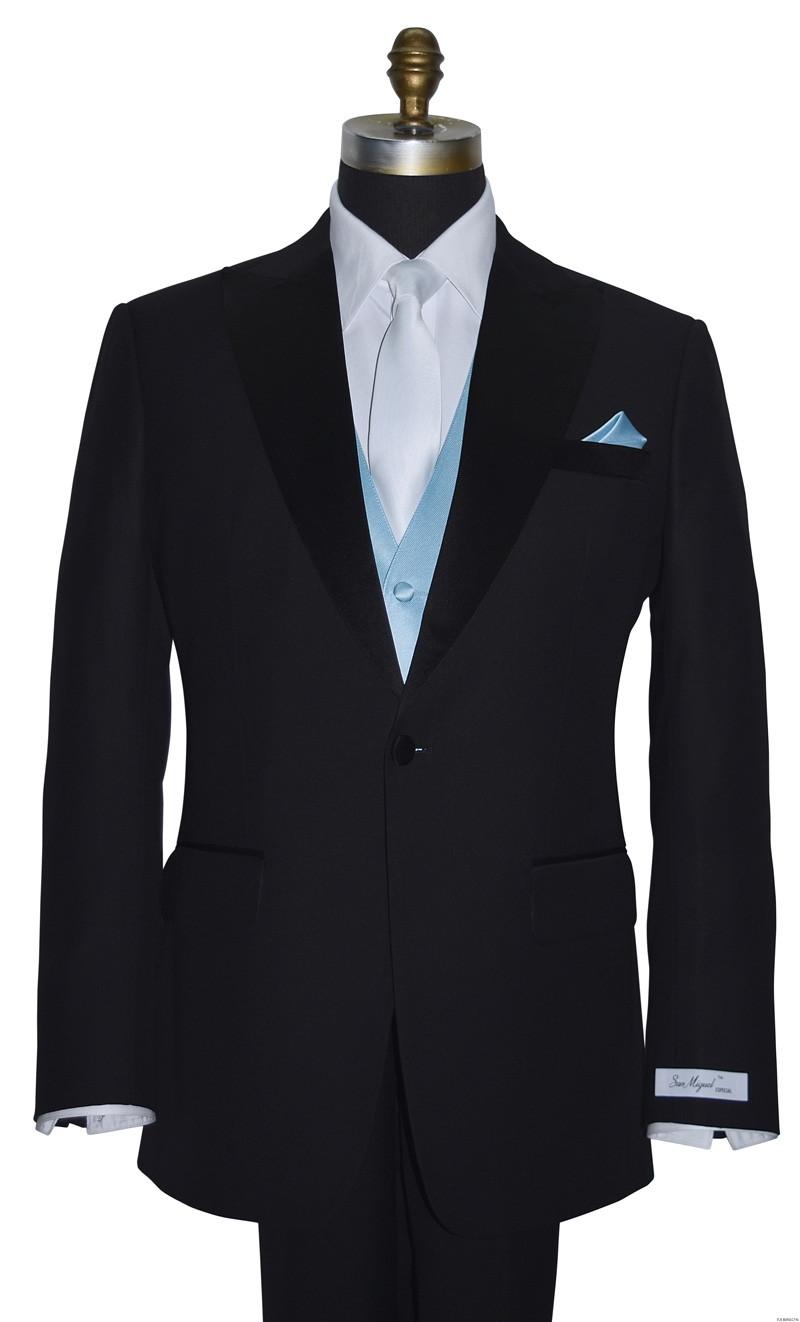men's capri blue vest with long white dress tie on tuxbling.com