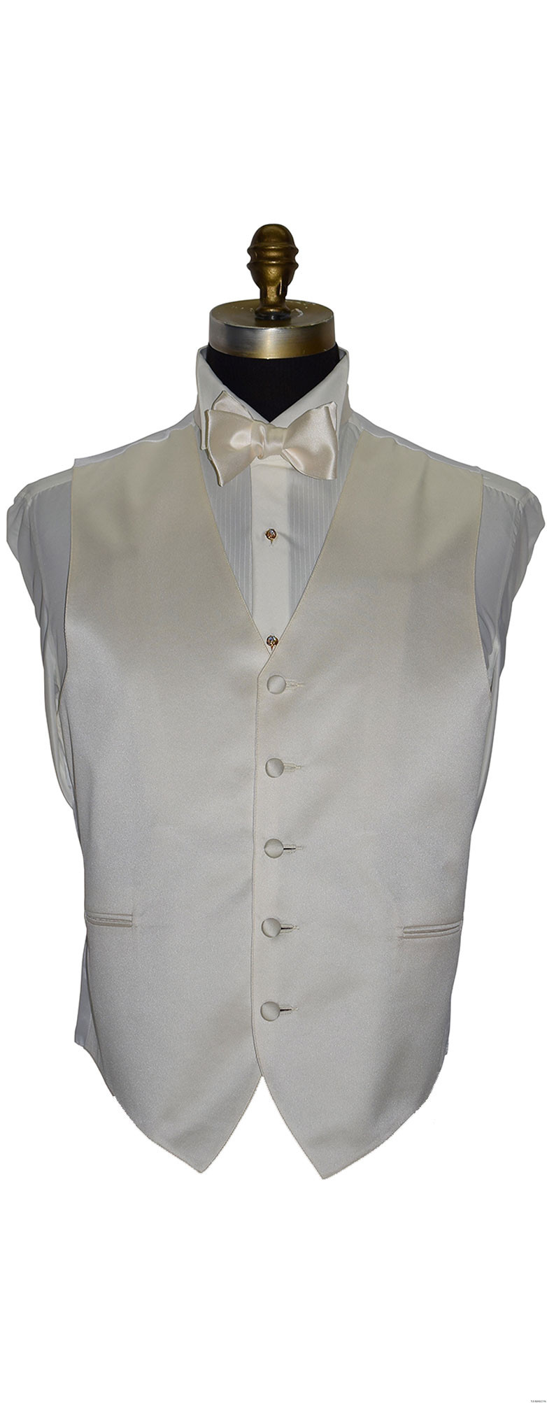 men's and boy's ivory satin vest and tie-yourself bowtie