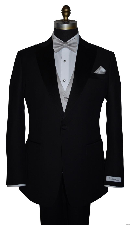 moonlight pre-tied bowtie, matching vest and moonlight pocket handkerchief by San Miguel Formals