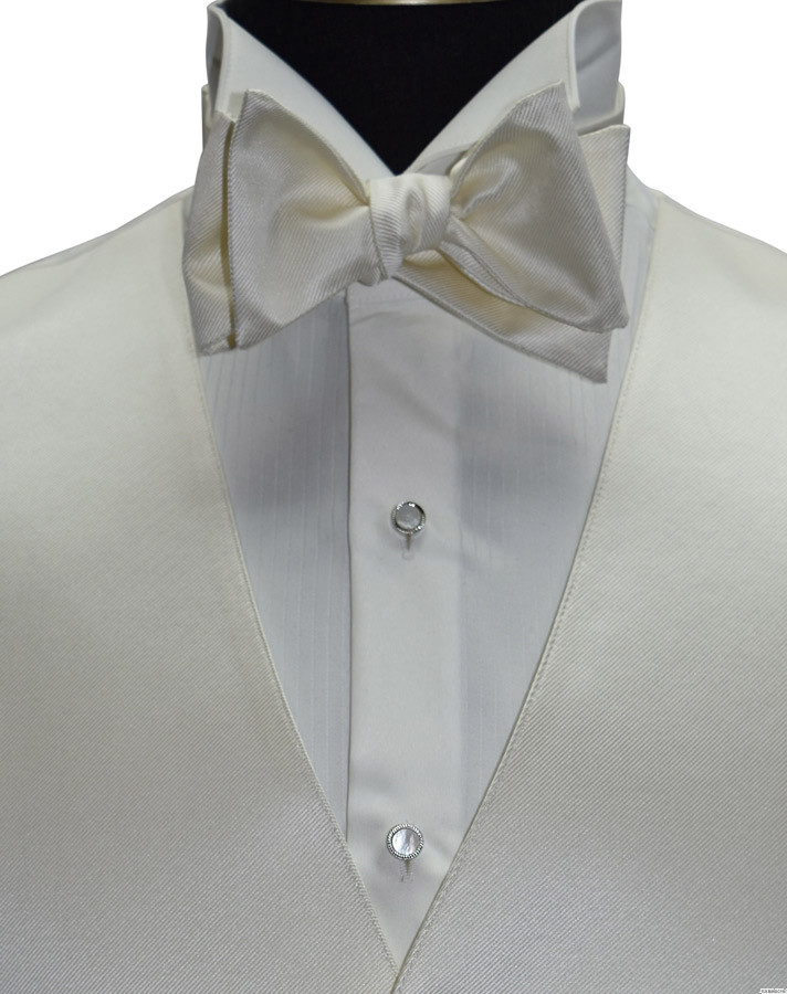 men's off-white ivory vest with off-white bowtie and mother of pearl studs and cufflinks