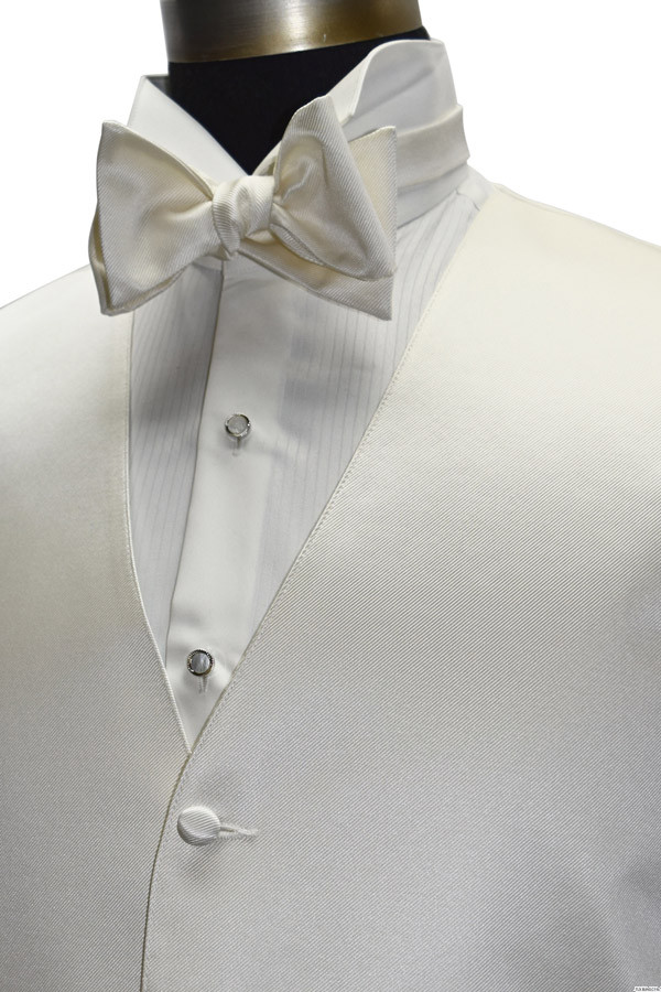 off-white ivory men's vest with off-white self-tie bowtie by San Miguel Formals