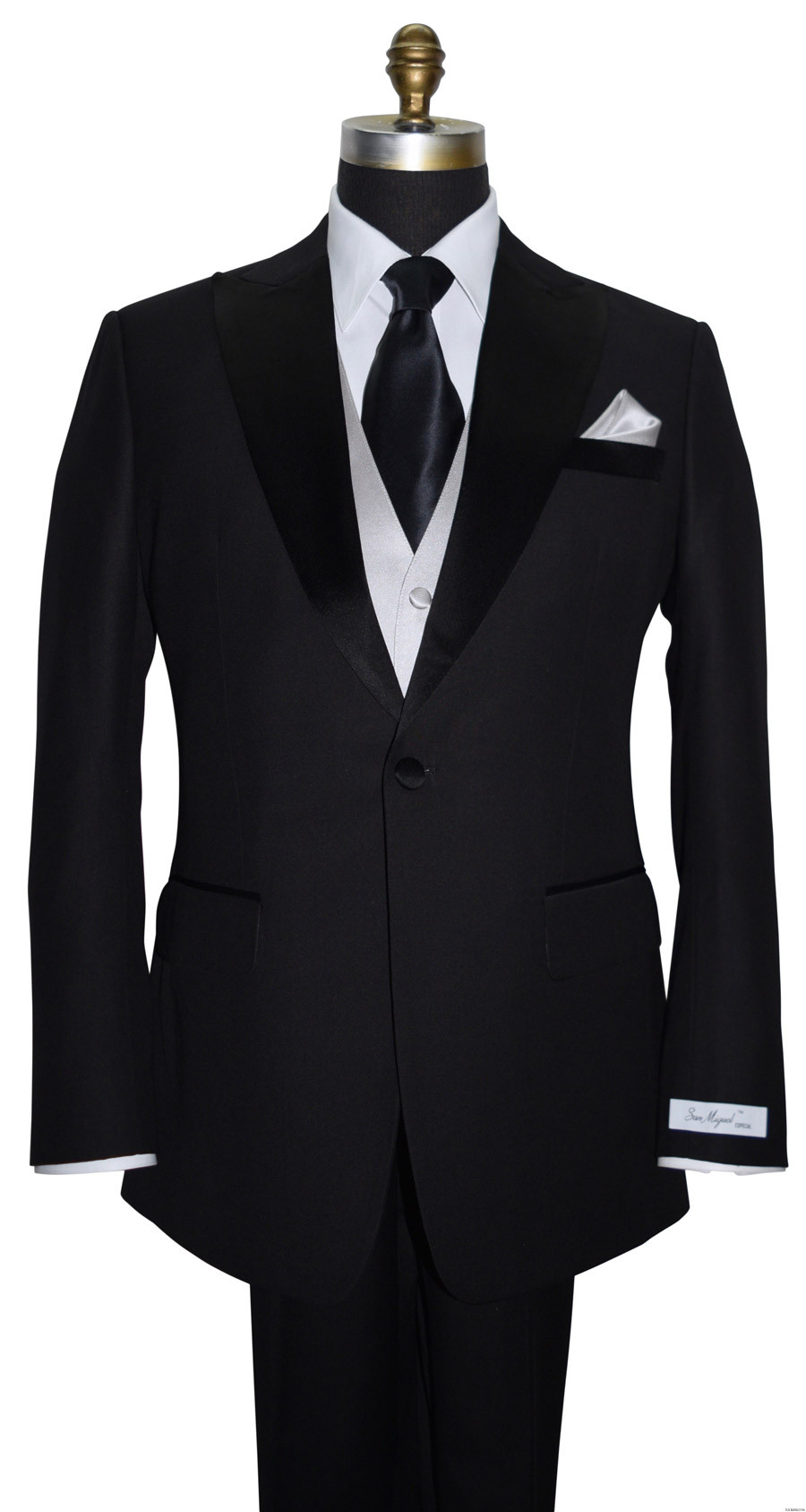 classic black silk long tie with moonlight vest and pocket handkerchief by San Miguel Formals