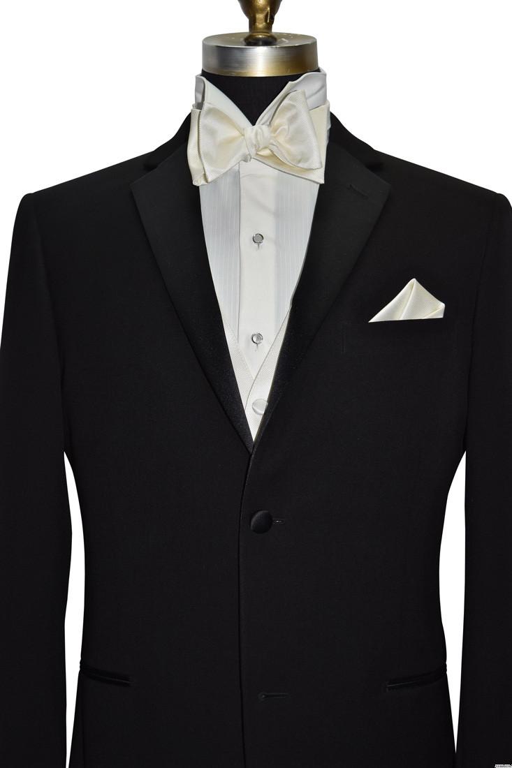 Men's ivory tuxedo vest and bowtie with black notch lapel tuxedo by San Miguel Formals