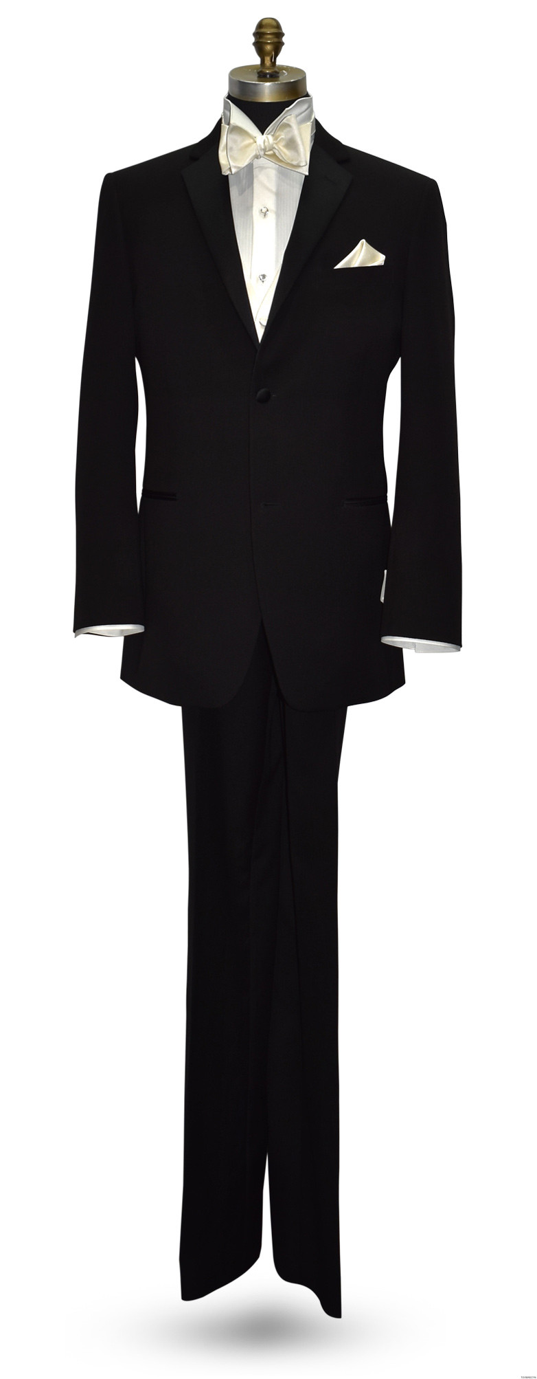 men's black tuxedo with off-white ivory vest and off-white ivory self-tie bowtie at tuxbling.com