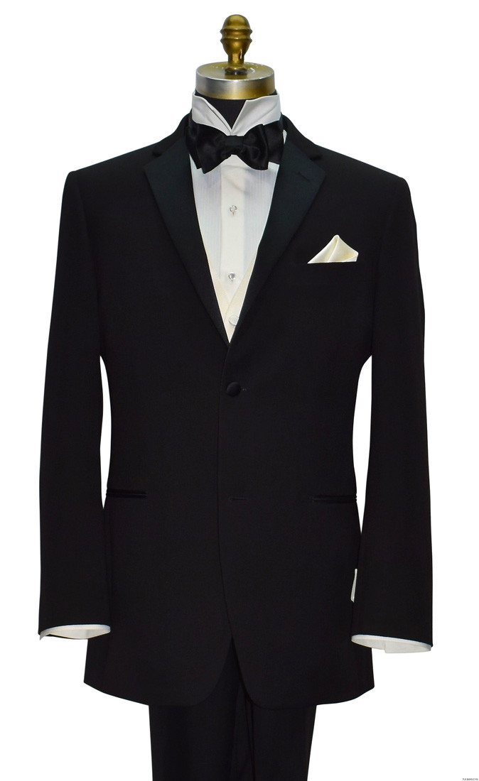 men's off-white tuxedo vest with black bowtie and black notch lapel tuxedo