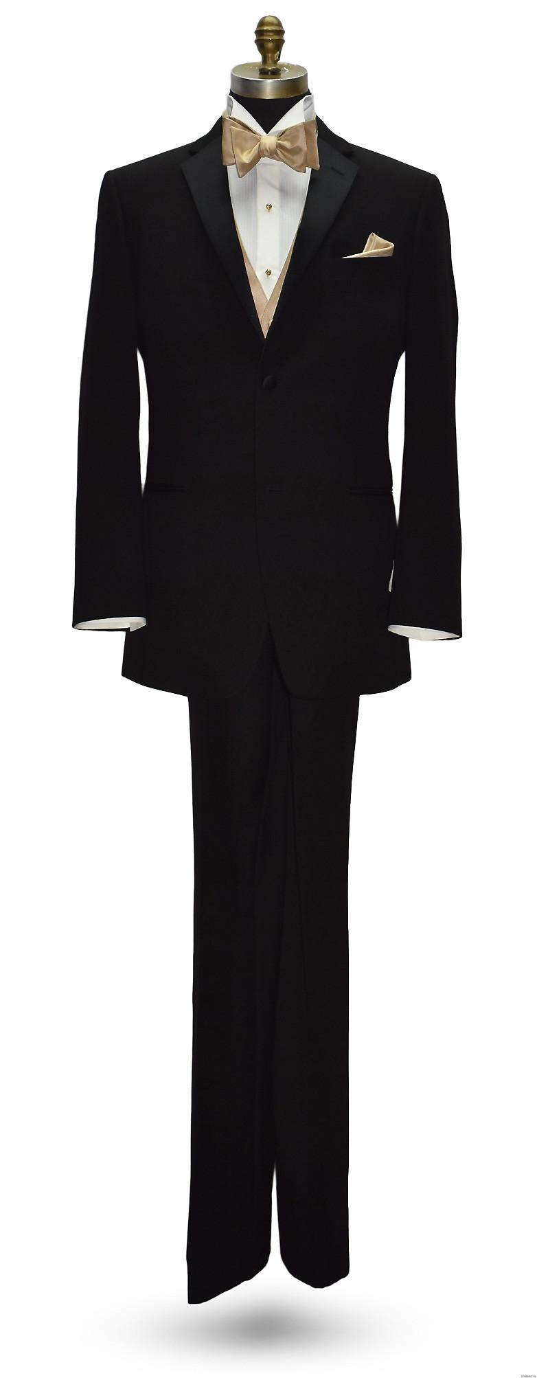 San Miguel black tuxedo with golden vest and bowtie