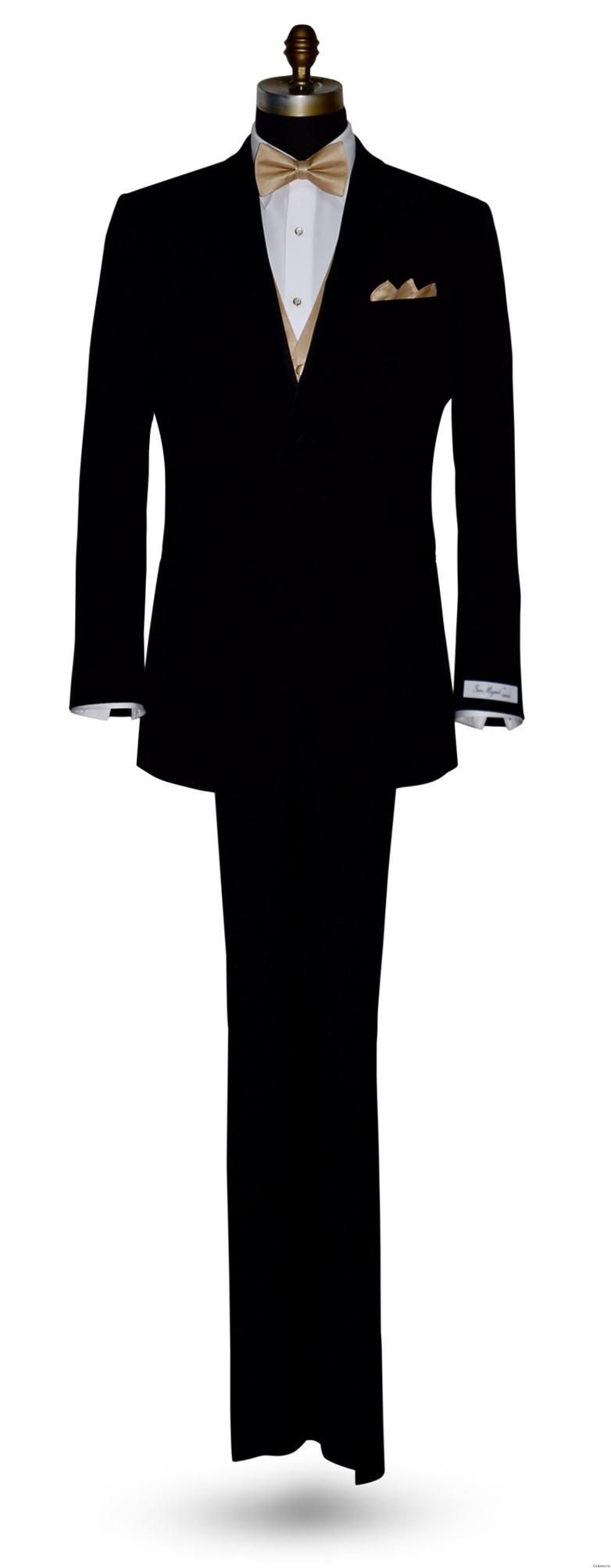 San Miguel black tuxedo with pre-tied golden bowtie and golden vest
