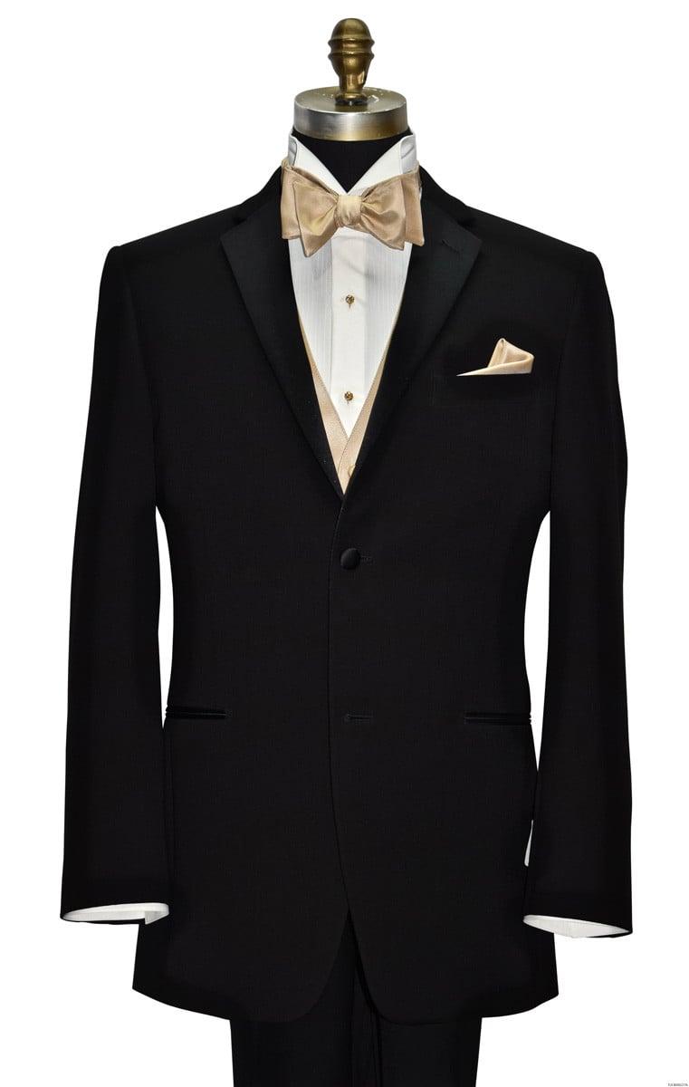 men's black San Miguel notch lapel tuxedo with golden bowtie and golden vest