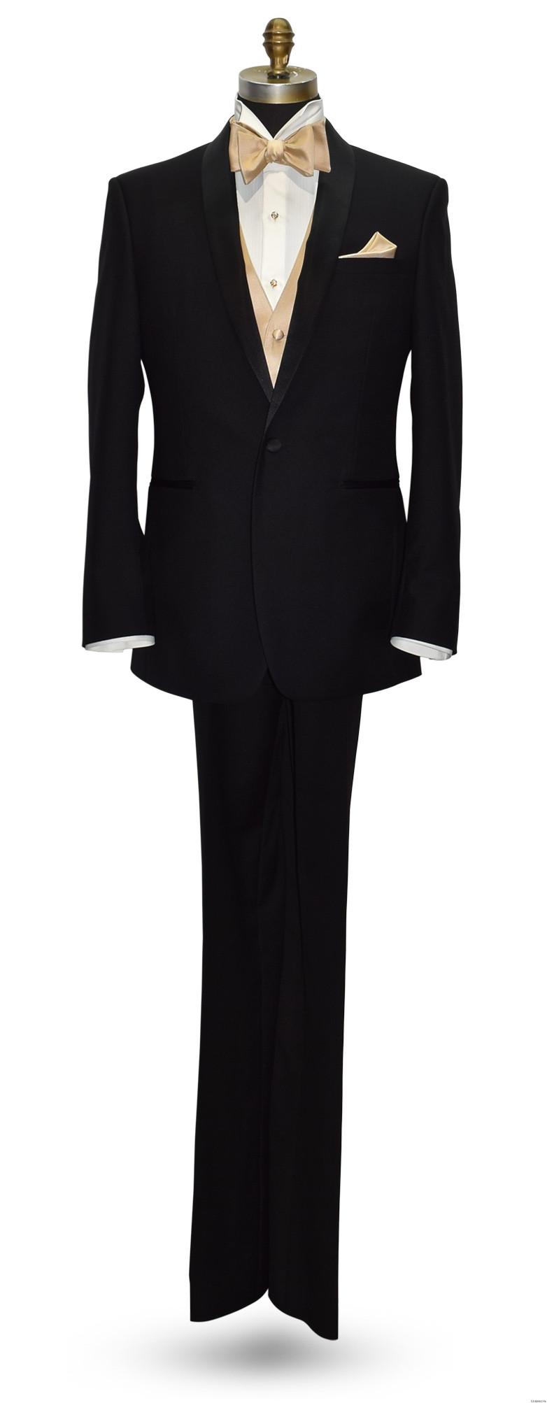 black tuxedo with golden vest and golden self-tie bowtie by San Miguel Formals