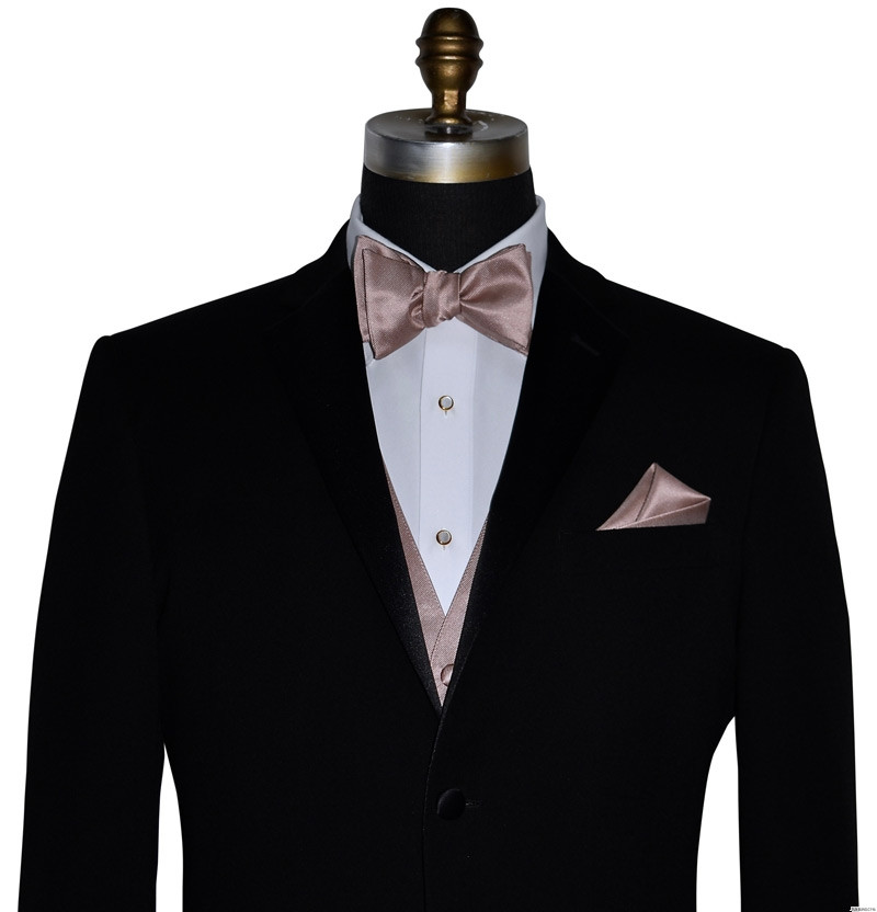 men's black tuxedo with rose-gold bowtie you tie yourself