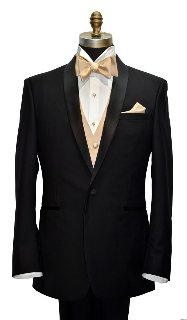 golden tuxedo vest with golden tie-yourself bowtie by San Miguel Formals
