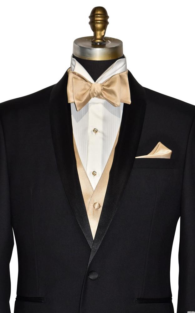 golden bowtie and golden vest on tuxbling.com