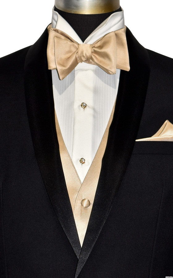 golden vest and bowtie by San Miguel Formals