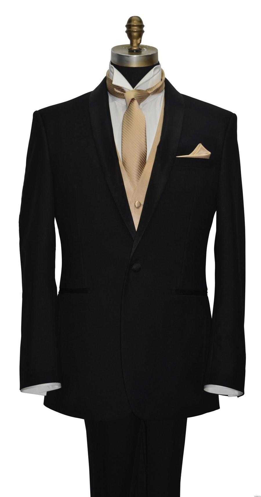 golden vest with golden long dress tie for men and boys